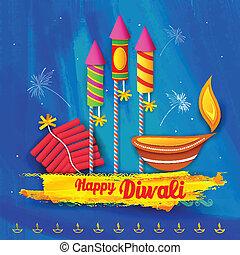 Happy Diwali Background - illustration of Happy Diwali...