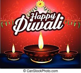 happy diwali  background with deep