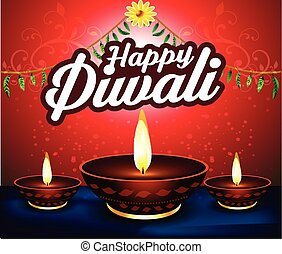 happy diwali  background with deep