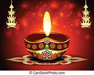 happy diwali background with deepak vector illustration