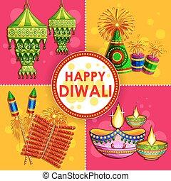 Happy Diwali background with diya and firecracker -...