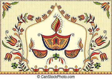 Happy Diwali background with diya