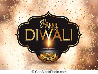 Happy Diwali background with gold confetti