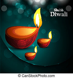 Happy diwali beautiful card diya vector design
