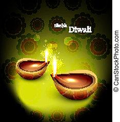 Happy diwali beautiful glowing diya background vector