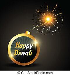 happy diwali bomb vector illustration