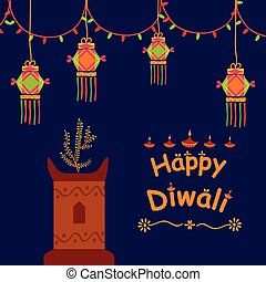 Happy Diwali celebration background in vector