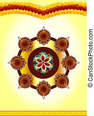 happy diwali celebration background with rangoli