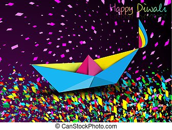 Happy Diwali Celebration in Origami style design of Indian Diya Oil Lamp in boat bath toy shape, surf the colorful stream of confetti in folded paper . Colorful Festival of Lights, purple background