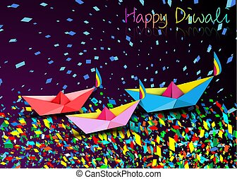 Happy Diwali Celebration in Origami style design of Indian Diya Oil Lamps in boat bath toy shape, surf the colorful stream of confetti in folded paper. Colorful Festival of Lights, purple background