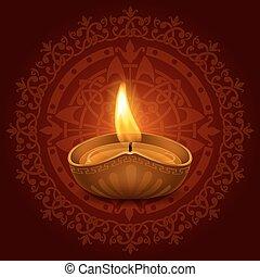 Happy Diwali - Vector illustration of burning oil lamp diya...