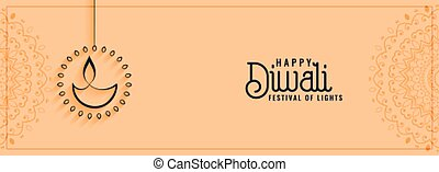 happy diwali cultural festival banner in clean style
