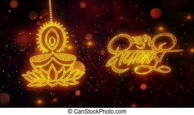 Happy Diwali Dipawali With Text Festival text with Shining Glitter Golden particles.11