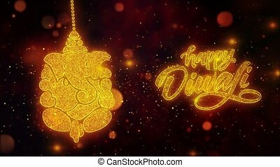 Happy Diwali Dipawali With Text Festival text with Shining Glitter Golden particles.16