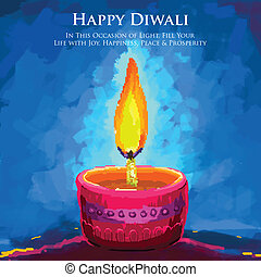 Happy Diwali Diya - vector illustration of holy diya for...