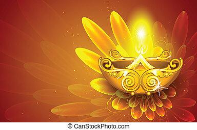Happy Diwali - illustration of illustration of decorated...
