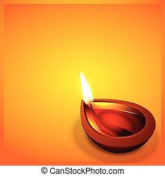 happy diwali - vector diwali festval diya with space for...