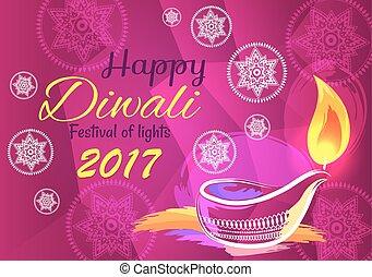 Happy Diwali Festival of Lights 2017 Banner Vector - Happy...