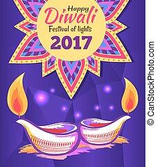 Happy Diwali Festival of Lights 2017 Poster Vector - Happy...