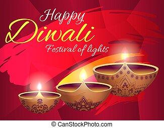 Happy Diwali Festival of Lights Bright Poster - Happy Diwali...