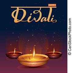 Happy Diwali festival of lights. Retro oil lamp on...
