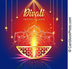 Happy Diwali festival of lights. Retro oil gold lamp on...