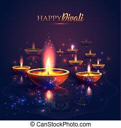Happy Diwali festival of lights. Retro oil lamp on...