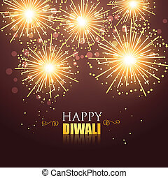 happy diwali fireworks - beautiful glowing happy diwali...