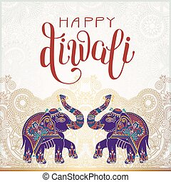 Happy Diwali gold greeting card with hand written inscription an