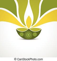 happy diwali greeting - vector green style happy diwali...
