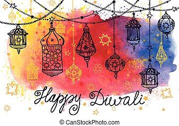 Happy Diwali hanging lamps and Watercolor splash - Happy...