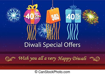 Happy Diwali holiday offer - vector illustration of Happy...