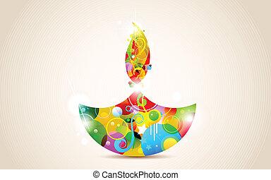 Happy Diwali - illustration of colorful diya for Happy...