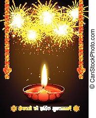happy diwali greeting with fireworks