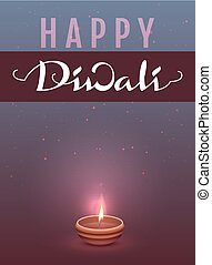 Happy Diwali Indian Festival of Lights. Lettering text...