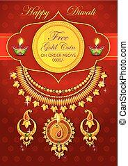 Happy Diwali jewelery promotion background with diya