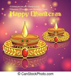Happy Diwali jewelery promotion background with diya -...
