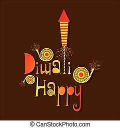 Happy Diwali poster with crackers - creative poster of...