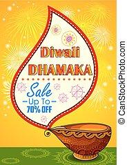 Happy Diwali promotion background with diya