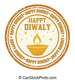Happy Diwali stamp - Happy Diwali grunge rubber stamp on...