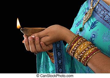 Happy diwali - Diwali or festive of lights. Traditional...