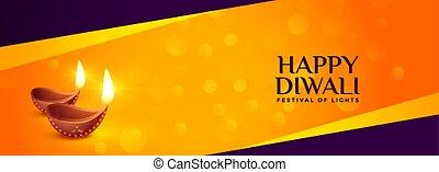 happy diwali traditional festival banner with diya