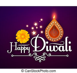 Happy Diwali. Traditional Indian Festival Background with...