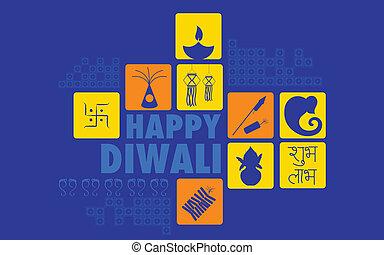 Happy Diwali - illustration of Happy Diwali background with...