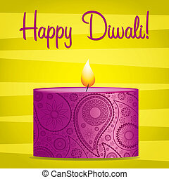 Happy Diwali! - Bright pink and yellow Diwali card in vector...