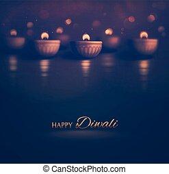 Happy Diwali, burning diya, eps 10