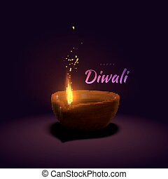 Happy Diwali. Indian festival of lights and fire. Vector...