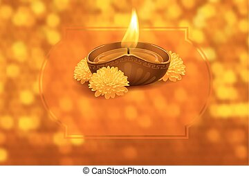 Happy Diwali - Vector illustration of burning oil lamp diya ...