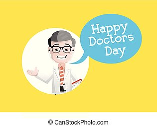 Happy Doctor Day - Smiling Neurologist Vector Character