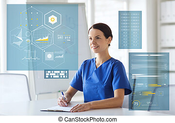 happy doctor or nurse with clipboard at hospital